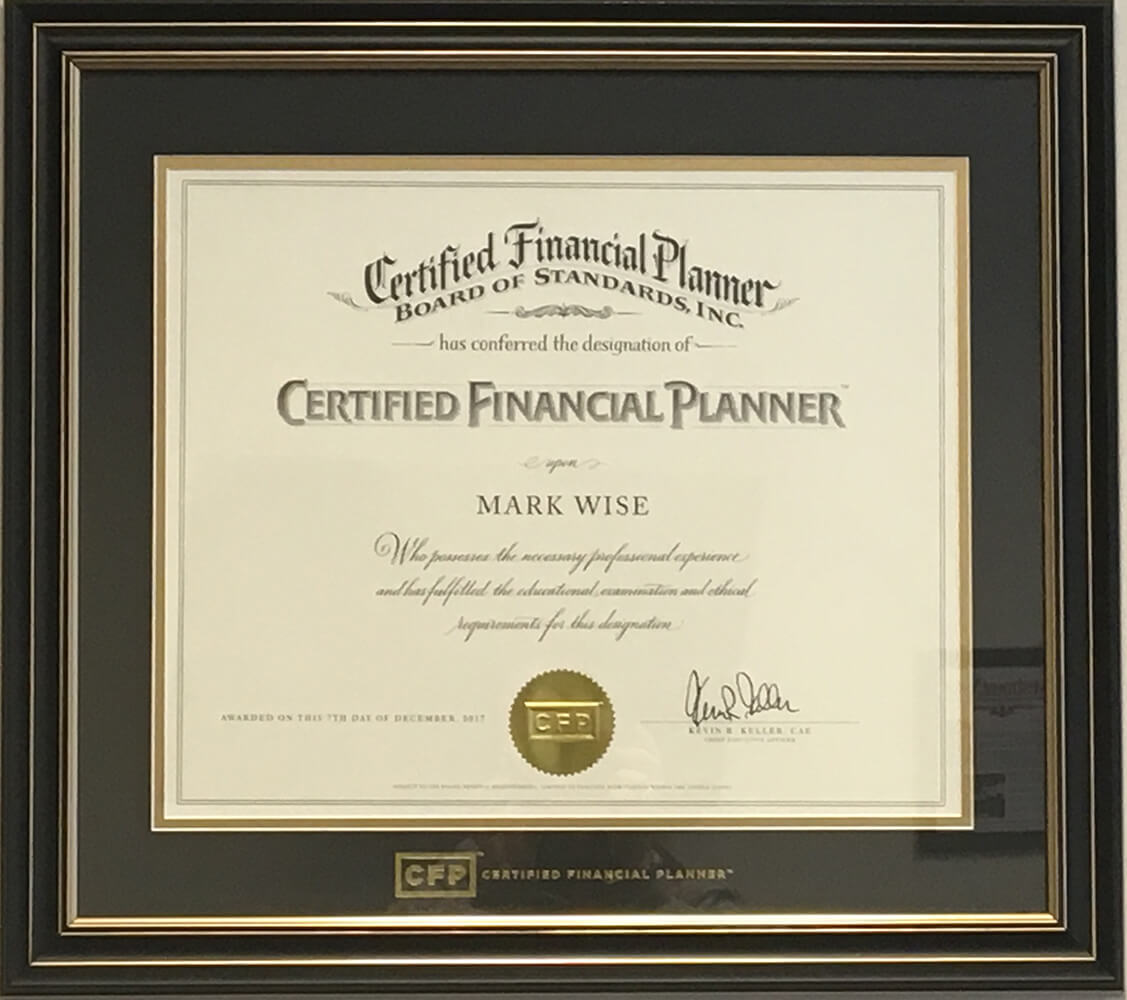 Mark earns CERTIFIED FINANCIAL PLANNER designation photo